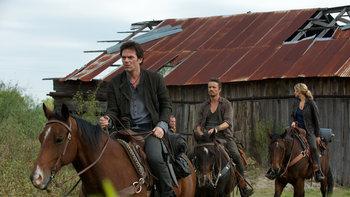 "Revolution- Miles, Monroe and Rachel on horseback from the episode ""Three Amigos"""