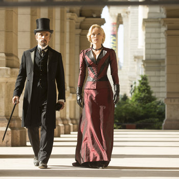 Pictured: (l-r) Ben Miles as Mr. Browning, Victoria Smurfit as Lady Jayne Wetherby -- (Photo by: David Lukacs/NBC)