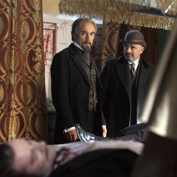 Pictured: (l-r) Alastair Mackenzie as Lord Rothcroft, Ben Miles as Mr. Browning, Andrew Paul as Inspector Salinger -- (Photo by: Egon Endrenyi/NBC)