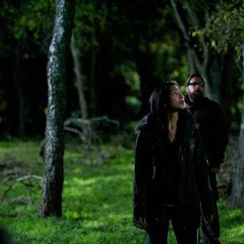 Revolution - Aaron Pittman and Priscilla walk through the woods