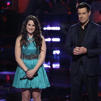 "THE VOICE -- ""Playoffs"" Episode 614 -- Pictured: (l-r) Audra McLaughlin, Carson Daly -- (Photo by: Tyler Golden/NBC)"