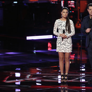 "THE VOICE -- ""Playoffs"" -- Pictured: (l-r) Melissa Jimenez, Carson Daly -- (Photo by: Tyler Golden/NBC)"