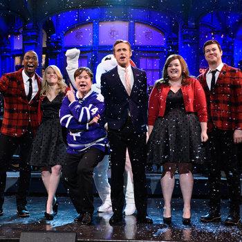 Ryan Gosling hosts Saturday Night Live with musical guest Leon Bridges on December 5, 2015.