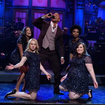 Dwayne Johnson hosts Saturday Night Live with musical guest George Ezra on March 28, 2015.