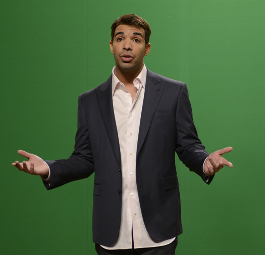 """Drake in """"Piers Morgan Cold Open"""" on Saturday Night Live on January 18, 2014."""