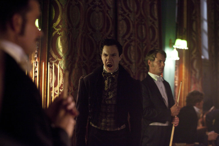 Episode 109 -- Pictured: (l-r) Alastair Mackenzie as Lord Rothcroft, Balint Petes as Vampire -- (Photo by: Egon Endrenyi/NBC)