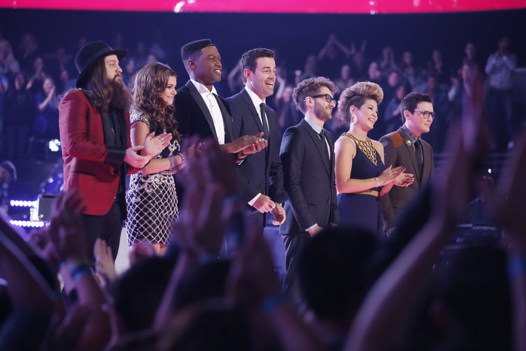 "THE VOICE -- ""Live Show"" Episode 517A -- Pictured: (l-r) Cole Vosbury, Jacquie Lee, Matthew Schuler, Carson Daly, Will Champlin, Tessanne Chin, James Wolpert -- (Photo by: Trae Patton/NBC)"