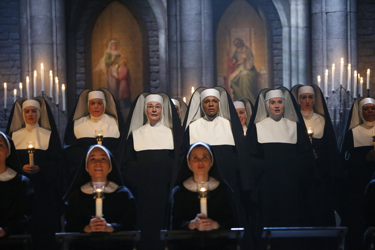 Pictured: (l-r) Jessica Molaskey as Sister Berthe, Audra McDonald as Mother Abess, Christiane Noll as Sister Margaretta -- (Photo by: Will Hart/NBC)