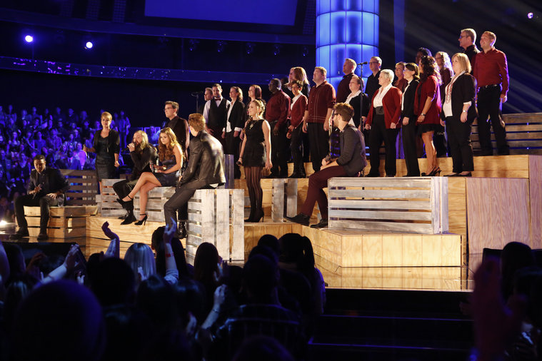 """THE VOICE -- """"Live Show"""" Episode 516B -- Pictured: (l-r) Matthew Schuler, Tessanne Chin, Cole Vosbury, James Wolpert, Jacquie Lee, Caroline Pennell, Ray Boudreaux, Will Champlin, featuring The Starbucks Choir -- (Photo by: Trae Patton/NBC)"""