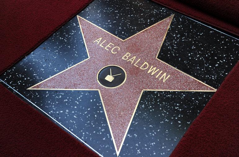 Actor Alec Baldwin's star is seen after