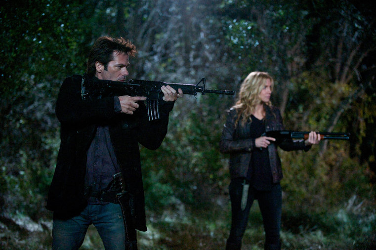 """REVOLUTION -- """"Fear and Loathing"""" Episode 214 -- Pictured: (l-r) Billy Burke as Miles Matheson, Elizabeth Mitchell as Rachel Matheson -- (Photo by: Felicia Graham/NBC)"""