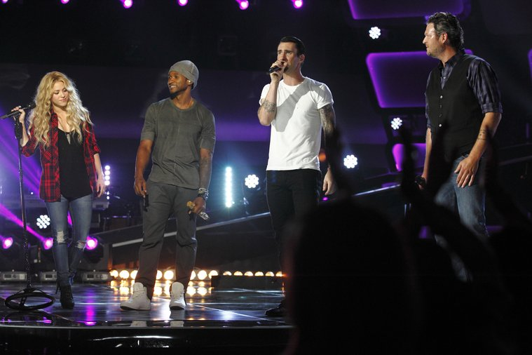 """THE VOICE -- """"Blind Auditions"""" Episode 601 -- Pictured: (l-r) Shakira, Usher, Adam Levine, Blake Shelton -- (Photo by: Trae Patton/NBC)"""