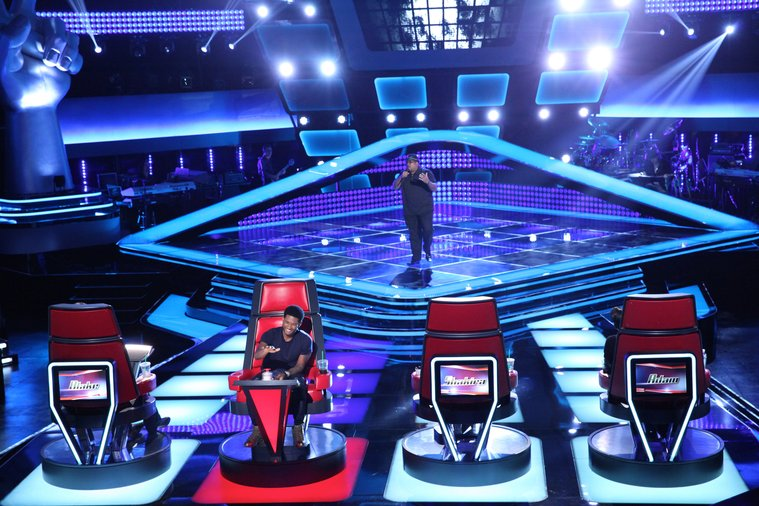 """THE VOICE -- """"Blind Auditions"""" Episode 601 -- Pictured: (l-r) Usher, Biff Gore -- (Photo by: Tyler Golden/NBC)"""
