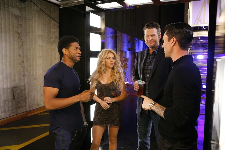 """THE VOICE -- """"Blind Auditions"""" -- Pictured: (l-r) Usher, Shakira, Blake Shelton, Adam Levine -- (Photo by: Trae Patton/NBC)"""