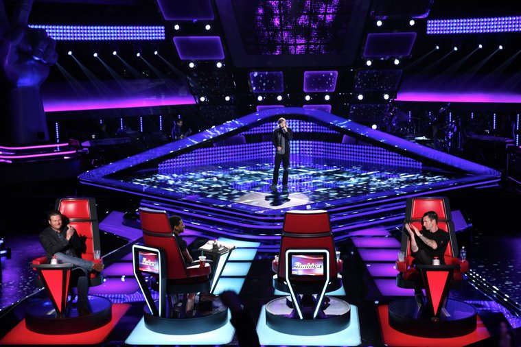 "THE VOICE -- ""Blind Auditions"" Episode 604 -- Pictured: (l-r) Blake Shelton, Usher, Morgan Wallen, Adam Levine -- (Photo by: Tyler Golden/NBC)"