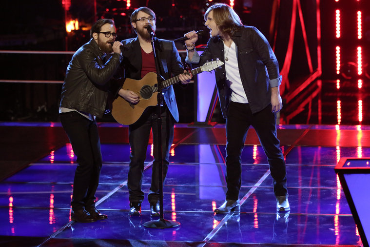 "THE VOICE -- ""Battle Rounds"" Episode 608 -- Pictured: (l-r) Coty Walker and Clinton Walker of Brothers Walker, Morgan Wallen -- (Photo by: Tyler Golden/NBC)"