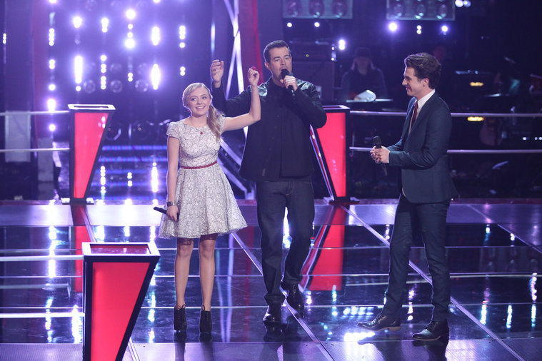 """THE VOICE -- """"Battle Rounds"""" Episode 609 -- Pictured: (l-r) Madilyn Paige, Carson Daly, Tanner James -- (Photo by: Tyler Golden/NBC)"""