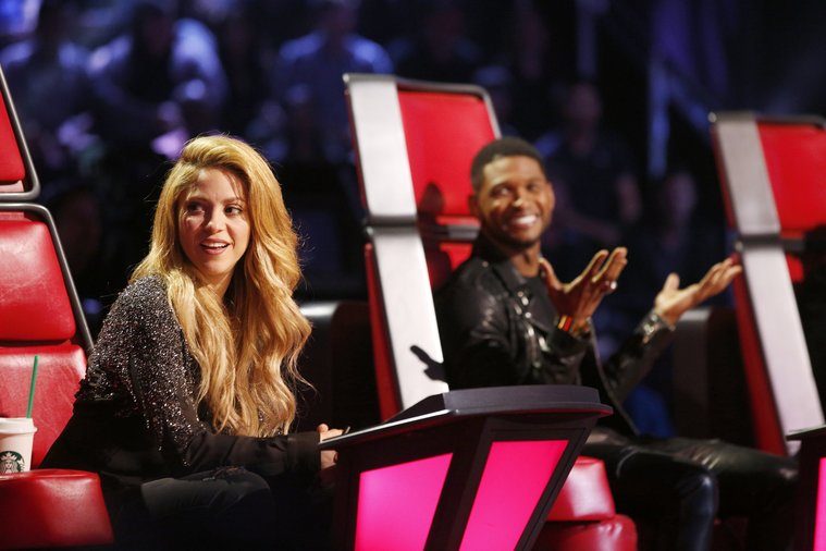 "THE VOICE -- ""Playoffs"" -- Pictured: (l-r) Shakira, Usher -- (Photo by: Trae Patton/NBC)"
