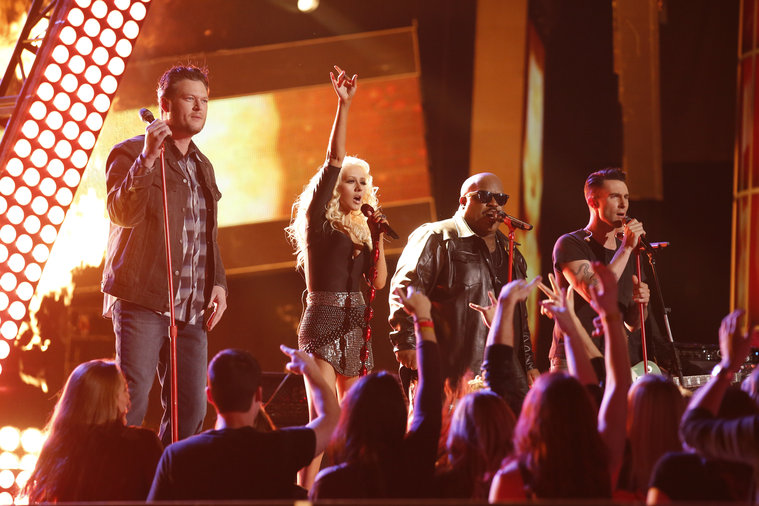 "THE VOICE -- ""Live Show"" Episode 519A -- Pictured: (l-r) Blake Shelton, Christina Aguilera, CeeLo Green, Adam Levine -- (Photo by: Trae Patton/NBC)"