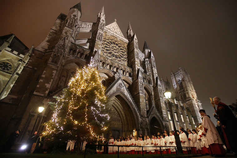 Christmas Tree Is Illuminated At Westminster Abbey