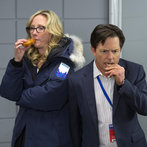 Pictured: (l-r) Anne Heche as Susan R. Jones, Michael J. Fox as Mike Henry -- (Photo by: Eric Liebowitz/NBC)