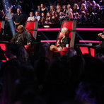 "THE VOICE -- ""Live Show"" Episode 517A -- Pictured: (l-r) Adam Levine, CeeLo Green, Christina Aguilera, Blake Shelton -- (Photo by: Trae Patton/NBC)"