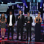 "THE VOICE -- ""Live Show"" Episode 517A -- Pictured: (l-r) Cole Vosbury, Jacquie Lee, Matthew Schuler, Carson Daly, Will Champlin, Tessanne Chin, James Wolpert -- (Photo by: Tyler Golden/NBC)"