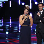 "THE VOICE -- ""Live Show"" Episode 517A -- Pictured: (l-r) Tessanne Chin, Carson Daly -- (Photo by: Tyler Golden/NBC)"