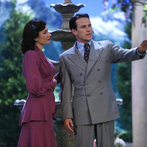Pictured: (l-r) Laura Benanti as Elsa Schraeder, Stephen Moyer as Captain Von Trapp -- (Photo by: Will Hart/NBC/NBCU Photo Bank)