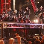 "THE VOICE -- ""Live Show"" Episode 519A -- Pictured: (l-r) Blake Shelton, Christina Aguilera, CeeLo Green, Adam Levine, Def Leppard -- (Photo by: Trae Patton/NBC)"