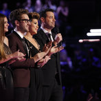 """THE VOICE -- """"Live Show"""" Episode 519A -- Pictured: (l-r) Jacquie Lee, Will Champlin, Tessanne Chin, Carson Daly -- (Photo by: Trae Patton/NBC)"""