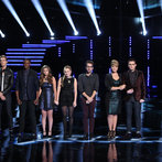 "THE VOICE -- ""Live Show"" Episode 516B -- Pictured: (l-r) Cole Vosbury, Ray Boudreaux, Matthew Schuler, Jacquie Lee, Caroline Pennell, Will Champlin, Tessanne Chin, James Wolpert, Carson Daly -- (Photo by: Tyler Golden/NBC)"