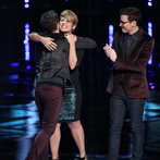 "THE VOICE -- ""Live Show"" Episode 516B -- Pictured: (l-r) Will Champlin, Tessanne Chin, James Wolpert -- (Photo by: Tyler Golden/NBC)"