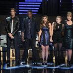 "THE VOICE -- ""Live Show"" Episode 516B -- Pictured: (l-r) Cole Vosbury, Ray Boudreaux, Matthew Schuler, Jacquie Lee, Caroline Pennell, Tessanne Chin, James Wolpert -- (Photo by: Tyler Golden/NBC)"
