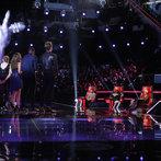 "THE VOICE -- ""Live Show"" Episode 516B -- Pictured: (l-r) Carson Daly, James Wolpert, Tessanne Chin, Caroline Pennell, Jacquie Lee, Matthew Schuler, Ray Boudreaux, Adam Levine, CeeLo Green, Christina Aguilera, Blake Shelton -- (Photo by: Trae Patton/NBC)"