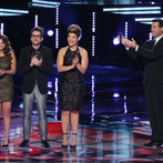 """THE VOICE -- """"Live Finale"""" Episode 519B -- Pictured: (l-r) Jacquie Lee, Will Champlin, Tessanne Chin, Carson Daly -- (Photo by: Tyler Golden/NBC)"""