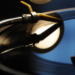 A vinyl record player is pictured at the