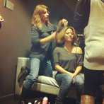 Angie getting her hurr did