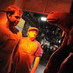 Taran and Bobby horsing around backstage.