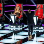 "THE VOICE -- ""Blind Auditions"" -- Pictured: (l-r) Adam Levine, Shakira, Usher -- (Photo by: Trae Patton/NBC)"