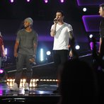 "THE VOICE -- ""Blind Auditions"" Episode 601 -- Pictured: (l-r) Shakira, Usher, Adam Levine, Blake Shelton -- (Photo by: Trae Patton/NBC)"