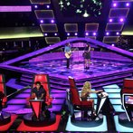 """THE VOICE -- """"Blind Auditions"""" Episode 601 -- Pictured: (l-r) Blake Shelton, Usher, Christopher Hawkes, Dawn Dropeza, Shakira -- (Photo by: Tyler Golden/NBC)"""