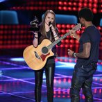 """THE VOICE -- """"Blind Auditions"""" Episode 601 -- Pictured: (l-r) Bria Kelly, Usher -- (Photo by: Tyler Golden/NBC)"""