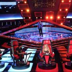 """THE VOICE -- """"Blind Auditions"""" Episode 601 -- Pictured: (l-r) Blake Shelton, Usher, T.J. Wilkins, Shakira, Adam Levine -- (Photo by: Tyler Golden/NBC)"""