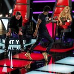 """THE VOICE -- """"Blind Auditions"""" -- Pictured: (l-r) Adam Levine, Usher, Shakira -- (Photo by: Trae Patton/NBC)"""