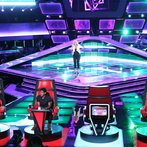"""THE VOICE -- """"Blind Auditions"""" Episode 604 -- Pictured: (l-r) Blake Shelton, Usher, Dani Moz, Adam Levine -- (Photo by: Tyler Golden/NBC)"""