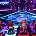 """THE VOICE -- """"Blind Auditions"""" Episode 606 -- Pictured: (l-r) Blake Shelton, Brittnee Camelle, Shakira, Adam Levine -- (Photo by: Tyler Golden/NBC)"""