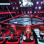 "THE VOICE -- ""Blind Auditions"" Episode 606 -- Pictured: (l-r) Blake Shelton, Usher, Shakira, Caleb Elder -- (Photo by: Tyler Golden/NBC)"