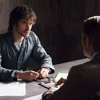 """HANNIBAL -- """"Hassun"""" Episode 203 -- Pictured: (l-r) Hugh Dancy as Will Graham, Mads Mikkelsen as Hannibal Lecter -- (Photo by: Brooke Palmer/NBC)"""