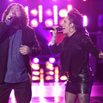 "THE VOICE -- ""Battle Rounds"" Episode 607 -- Pictured: (l-r) Patrick Thomson, Kat Perkins -- (Photo by: Tyler Golden/NBC)"